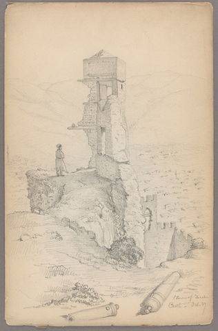 Henry John Van Lennep sketch of a person standing by castle ruins