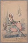 Henry John Van Lennep watercolor painting of seated woman holding a chibouk