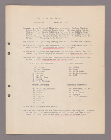 Amherst College faculty meeting minutes 1923/1924