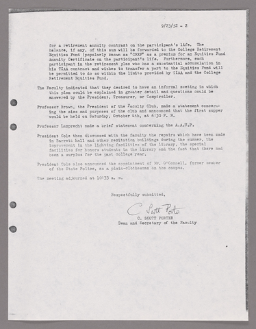 Amherst College faculty meeting minutes and Committe of Six meeting minutes 1952/1953