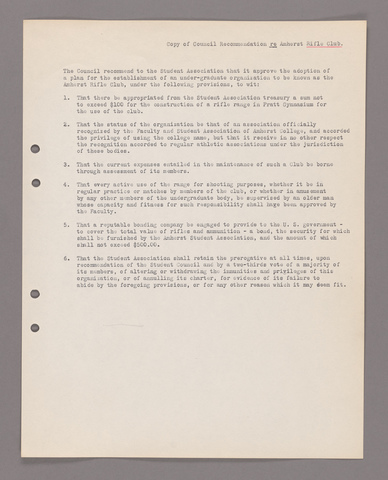 Amherst College faculty meeting minutes 1924/1925