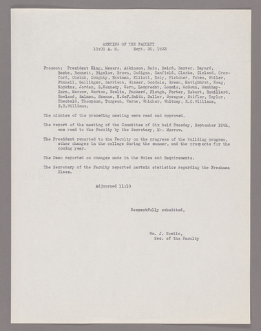 Amherst College faculty meeting minutes and Committe of Six meeting minutes 1933/1934