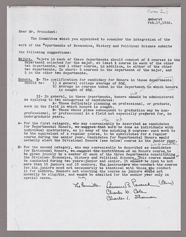 Amherst College faculty meeting minutes and Committe of Six meeting minutes 1935/1936