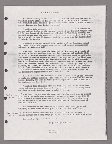 Amherst College faculty meeting minutes and Committe of Six meeting minutes 1957/1958