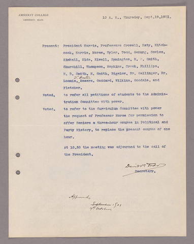 Amherst College faculty meeting minutes 1901/1902