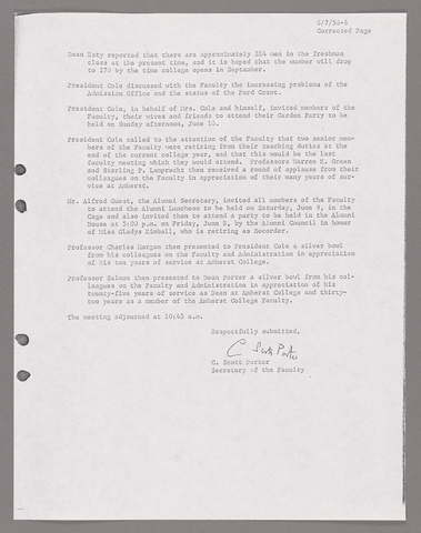 Amherst College faculty meeting minutes and Committe of Six meeting minutes 1955/1956