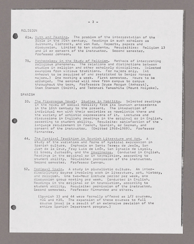 Amherst College faculty meeting minutes and Committe of Six meeting minutes 1967/1968