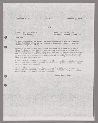Amherst College faculty meeting minutes and Committe of Six meeting minutes 1948/1949