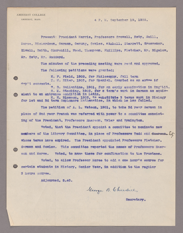Amherst College faculty meeting minutes 1900/1901