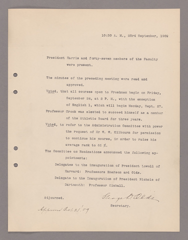 Amherst College faculty meeting minutes 1909/1910
