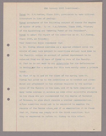 Amherst College faculty meeting minutes 1895/1896