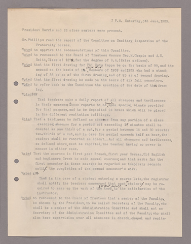 Amherst College faculty meeting minutes 1908/1909