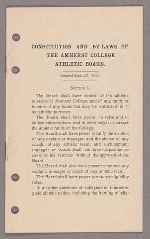 Amherst College faculty meeting minutes 1905/1906