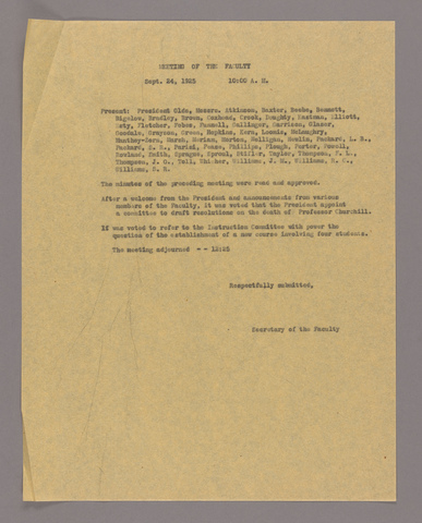 Amherst College faculty meeting minutes 1925/1926