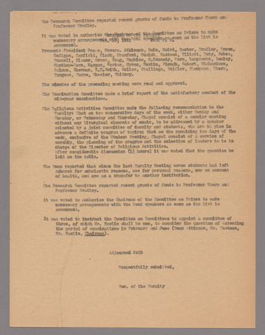 Amherst College faculty meeting minutes 1930/1931