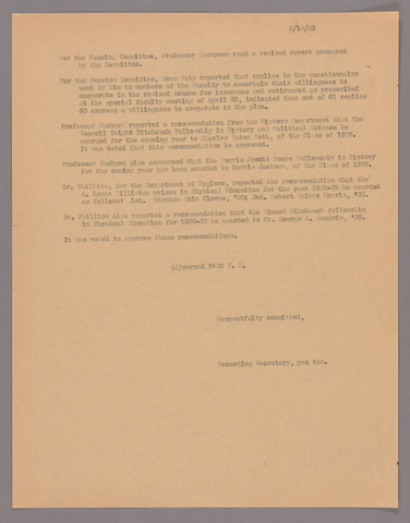 Amherst College faculty meeting minutes 1928/1929