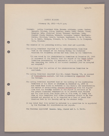 Amherst College faculty meeting minutes 1920/1921
