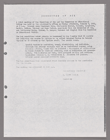 Amherst College faculty meeting minutes and Committe of Six meeting minutes 1950/1951