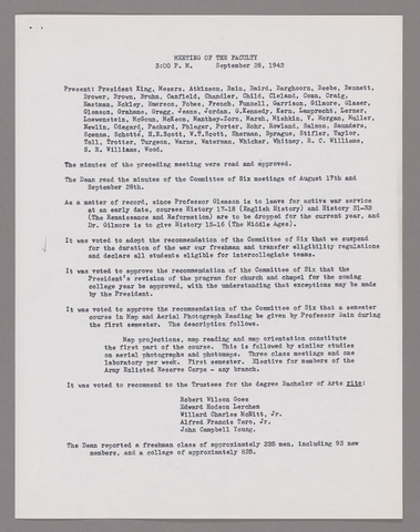 Amherst College faculty meeting minutes and Committe of Six meeting minutes 1942/1943