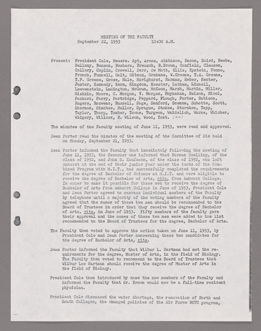 Amherst College faculty meeting minutes and Committe of Six meeting minutes 1953/1954