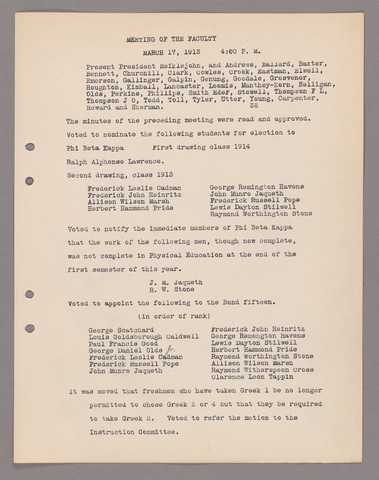 Amherst College faculty meeting minutes 1912/1913