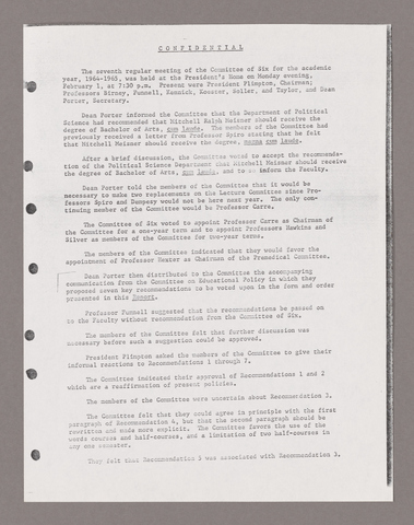 Amherst College faculty meeting minutes and Committe of Six meeting minutes 1964/1965
