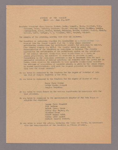 Amherst College faculty meeting minutes 1926/1927