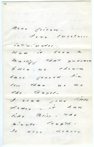 Emily Dickinson letter to Mrs. Edward (Sarah) Tuckerman
