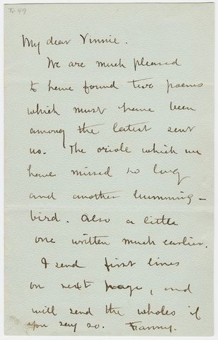 Frances Lavinia Norcross letter to Lavinia Norcross Dickinson
