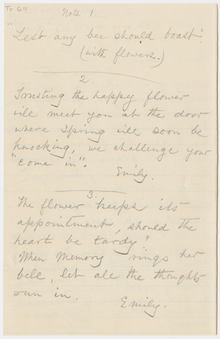 Transcription of Emily Dickinson letters to Jeanne Ashley Bates Greenough