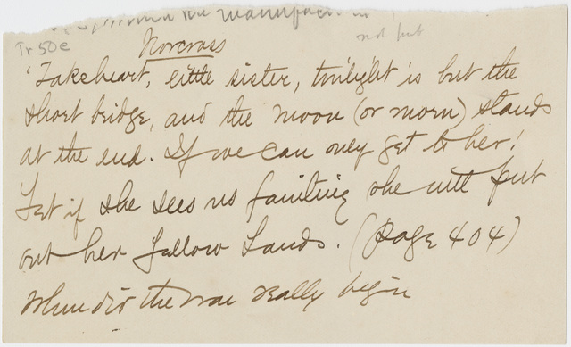 Transcription of extract of Emily Dickinson letter