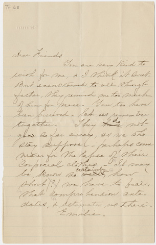 Transcript of Emily Dickinson letter to unidentified recipient