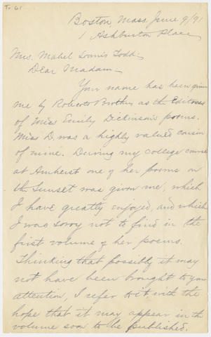 Perez Dickinson Cowan letter to Mabel Loomis Todd, 1891 June 9