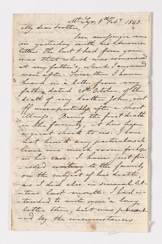 Albert Lewis Holladay letter to Justin Perkins, 1843 February 7