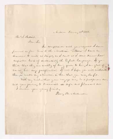 Henry H. Anderson letter to Justin Perkins, 1843 December 28