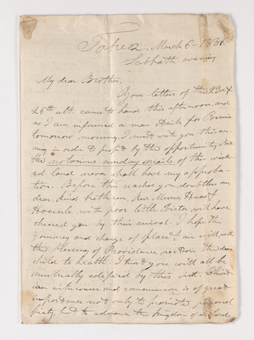 James Lyman Merrick letter to Justin Perkins, 1836 March 6