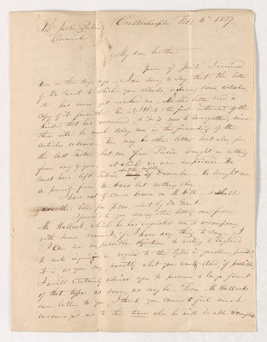 Harrison Gray Otis Dwight letter to Justin Perkins, 1837 February 4