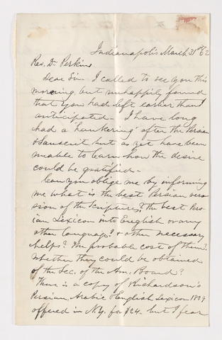 Charles W. Moores letter to Justin Perkins, 1862 March 31