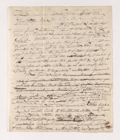 Justin Perkins draft letter to Brother Brainerd, 1835 April 11