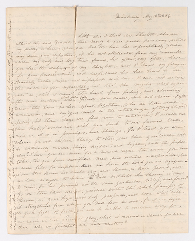 Abby Bates letter to Charlotte Bass Perkins, 1834 May 12