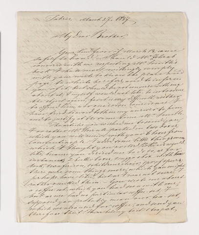 Friedrich Haas letter to Justin Perkins, 1837 March 27