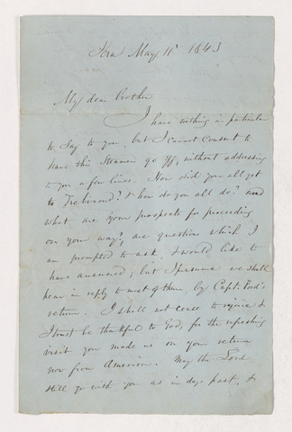Harrison Gray Otis Dwight letter to Justin Perkins, 1843 May 11