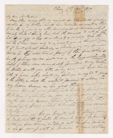 Letter from unidentified correspondent to Justin Perkins, 1837 December 17 to 19