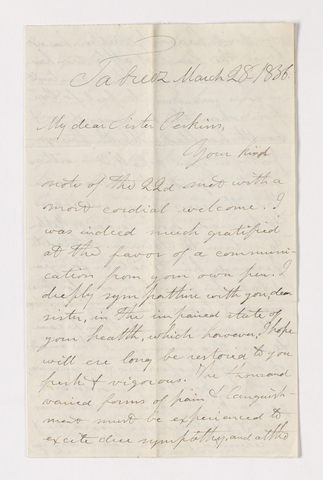 James Lyman Merrick letter to Charlotte Bass Perkins, 1836 March 28