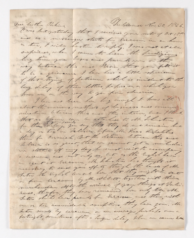 William C. Jackson letter to Justin Perkins, 1836 November 30