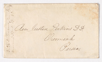 Samuel Woodworth and Abby Bass Cozzens envelope to Justin Perkins, 1853