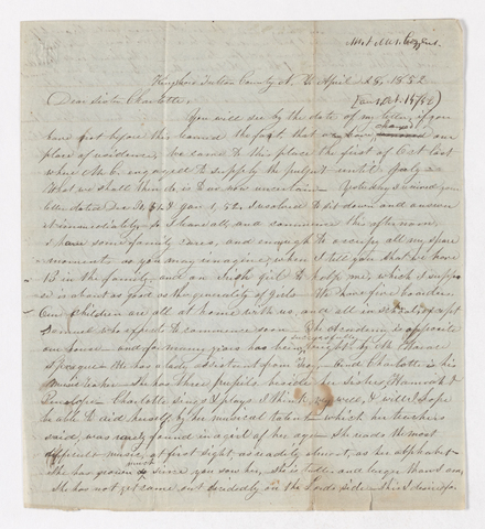 Abby Bass and Samuel Woodworth Cozzens letter to Charlotte Bass and Justin Perkins, 1852 April 28 to May 12