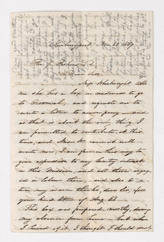 F. B. Banister letter to Justin Perkins, 1864 November 20