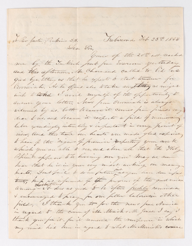 Edwin Elisha Bliss letter to Justin Perkins, 1846 February 25