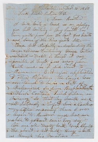 John O. Mead letter to Justin Perkins, 1863 December 20